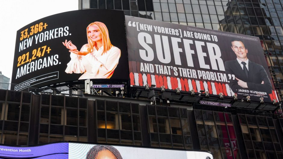 Jared Kushner and Ivanka Trump threatened to sue an anti-Trump super PAC for putting up billboards showing them smiling next to the US COVID-19 death toll